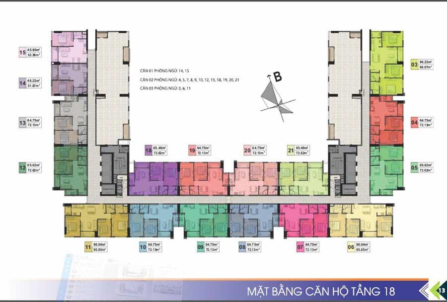 Mặt bằng tầng 18 Dự án Phú Tài Residences