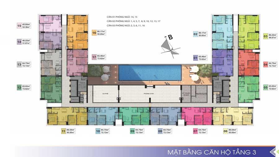 Mặt bằng tầng 03 Dự án Phú Tài Residences