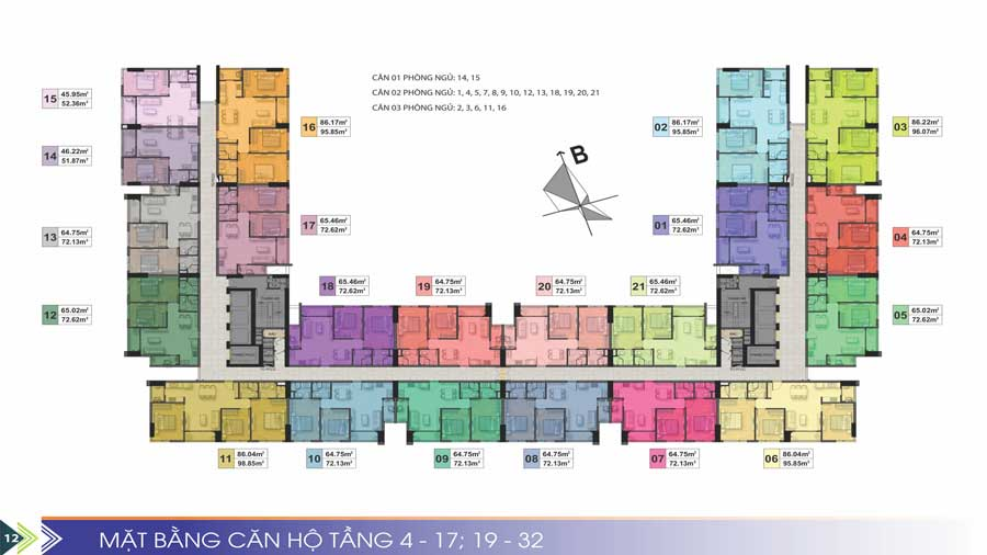 Mặt bằng tầng căn hộ điển hình Phú Tài Residences