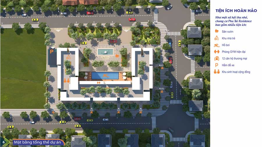 Mặt bằng tiện ích căn hộ Phú Tài Residences
