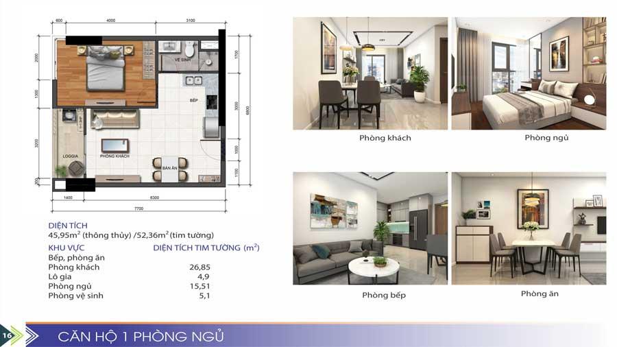 Thiết kế căn hộ 1 phòng ngủ Phú Tài Quy Nhơn