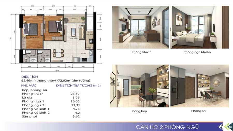 Thiết kế căn hộ 2 phòng ngủ Phú Tài Quy Nhơn