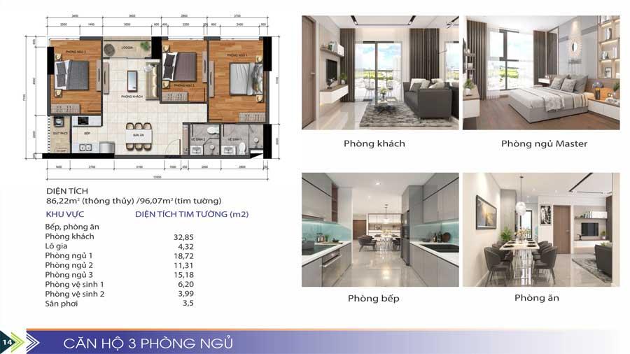 Thiết kế căn hộ 3 phòng ngủ Phú Tài Quy Nhơn
