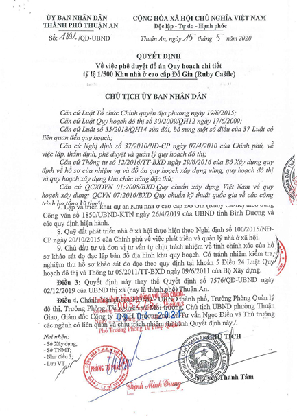 Quyết định phê duyệt dự án Lavita Thuận An