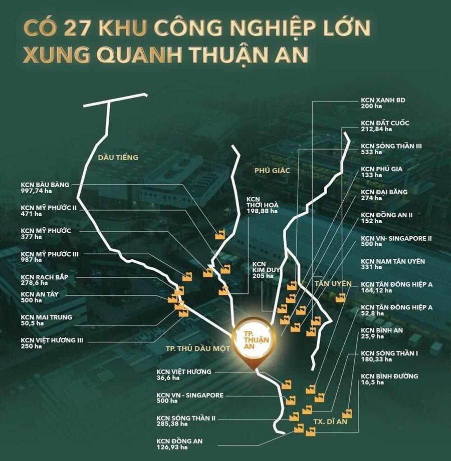 Thành phố Thuận An trung tâm của các khu công nghiệp