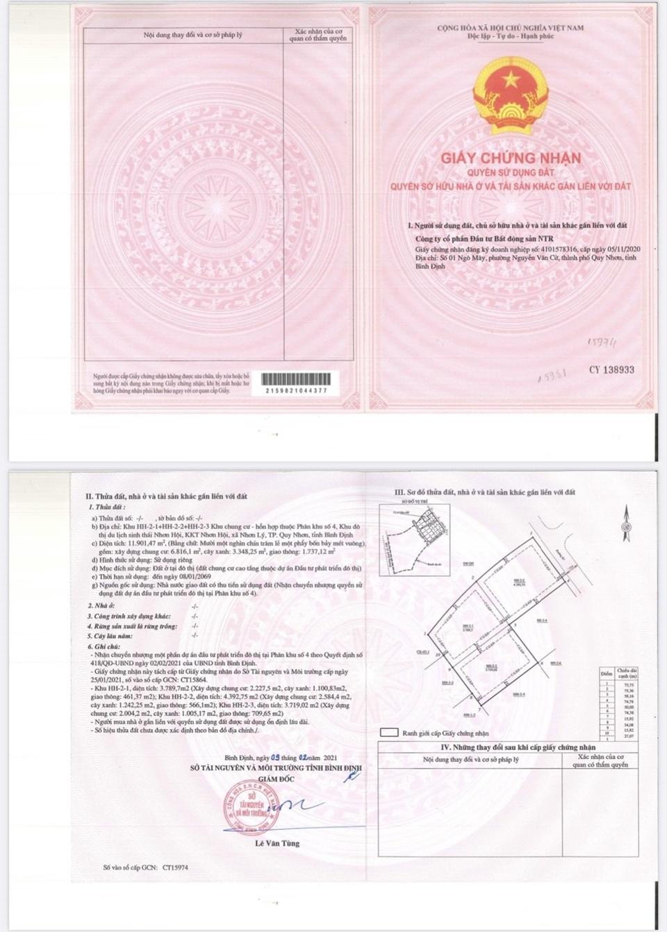 Pháp lý dự án Takashi Ocean Suite Kỳ Co Quy Nhơn